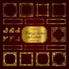 Golden vintage frames and corners - set 1