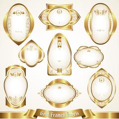 White gold-framed labels set 2