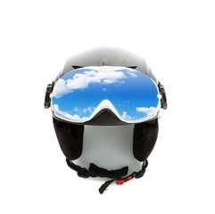 Helmet and goggles isolated on white