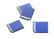 Four sd memory cards on white