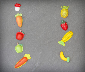 recreation of pieces of fruit and vegetables