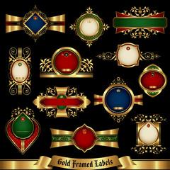 Gold framed labels set 8