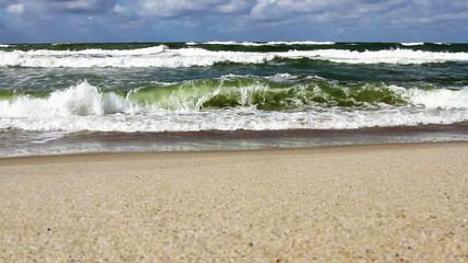 Baltic sea waves at the coast beach Lithuania