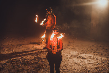 Beauty fire show in the dark