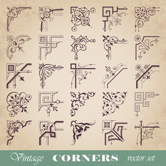 Vector set of vintage corners