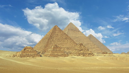 Timelapse with clouds over great pyramids at Giza Cairo in Egypt