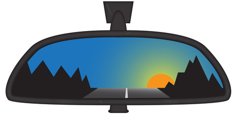 Mountain Sunset In Chunky Rear View Mirror