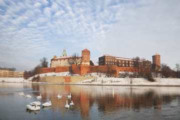 The historic Wawel Royal castle in Krakow, Poland