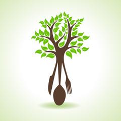 restaurant forks make a tree stock vector