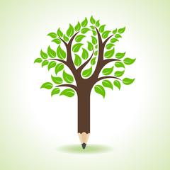 Ecology concept - Pencil make a tree stock vector
