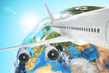 Fototapeta Airplane travel background. Airliner and earth.