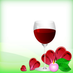 Abstract white background with green leaves and wine glass