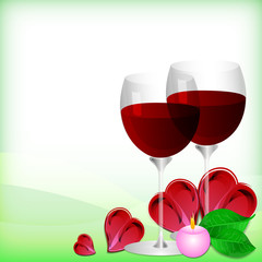 Greeting card with glasses of red wine on Valentine's day