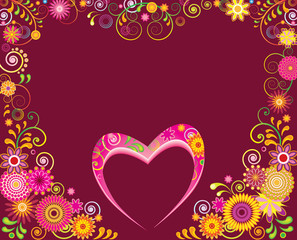 Fancy floral frame and heart for Valentine day