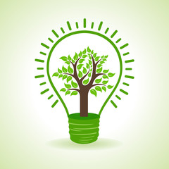 Tree inside the bulb- vector illustration