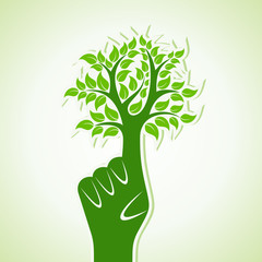 Finger make Abstract Tree Design - vector illustration