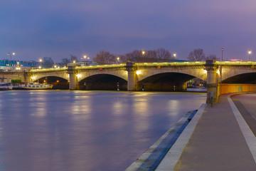 Pont de la Concorde at night in Paris, France