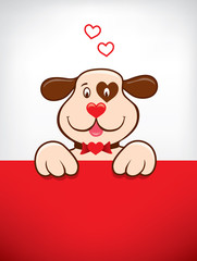greeting card with funny dog falling in love