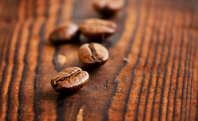 Coffee beans on a  old  background