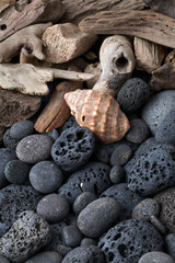 Beach stones and wood