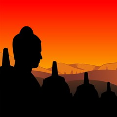 statue of borobudur temple on sunset time