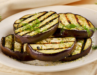 Grilled eggplant  on a plate.