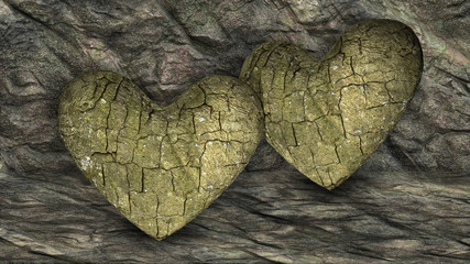 Two Heart Shaped Rocks over a background with Rocks