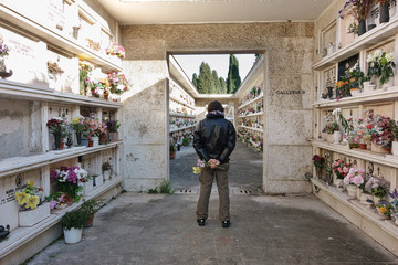 man in the Verano cemetery