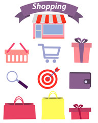 Set of flat design concept icons for shopping