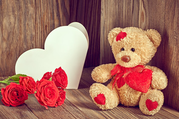 Valentines Teddy Bear Loving with Roses and greeting card