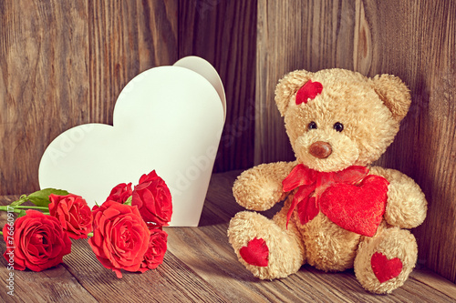 Valentines Teddy Bear Loving with Roses and greeting card - 76660917