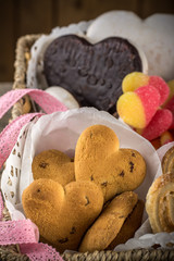 Valentine background with Fresh delicious cookies and