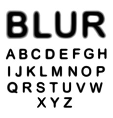Blurred alphabet, upper case letters collection