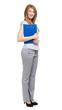 Full length female manager isolated on white