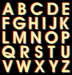 Retro Vector Halftone Colorful Alphabet Set