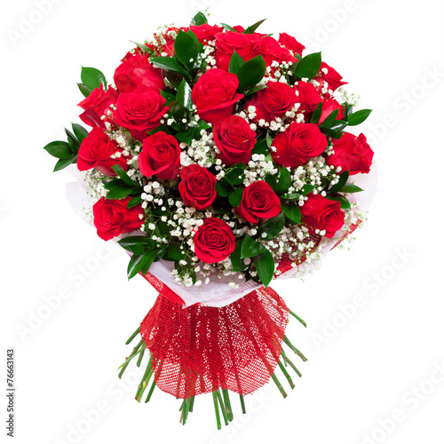 Fotobehang Rozen Bouquet of red roses isolated