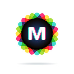 Retro bright colors Logotype, Letter M