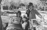 Senior couple at sidecar bike