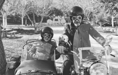 Senior couple at sidecar bike