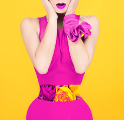 Surprise fashion lady in a crimson color style. Spring, flowers,
