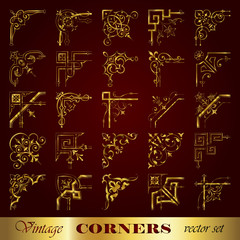 Vector set of vintage corners in gold