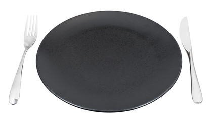 black plate with fork and knife set isolated