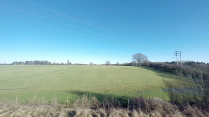 HD footage  of the countryside viewed from a train.