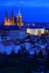 Night Prague City with the gothic Castle, Czech Republic