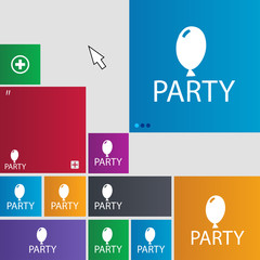 Party sign icon. Birthday air balloon with rope or ri