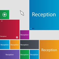 Reception sign icon. Hotel registration table symb