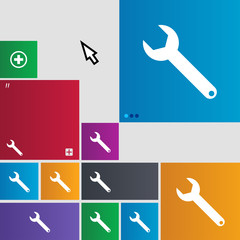 Wrench key sign icon. Service tool symbol. Set of c