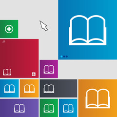Book sign icon. Open book symbol. Set of colored