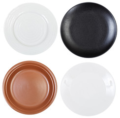 set of empty dinner plates isolated on white