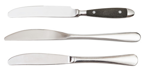 set of dinner knives isolated on white